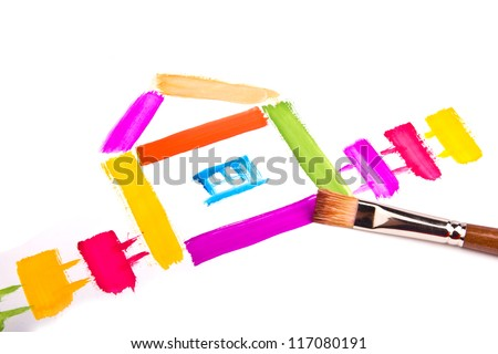 painted house - stock photo