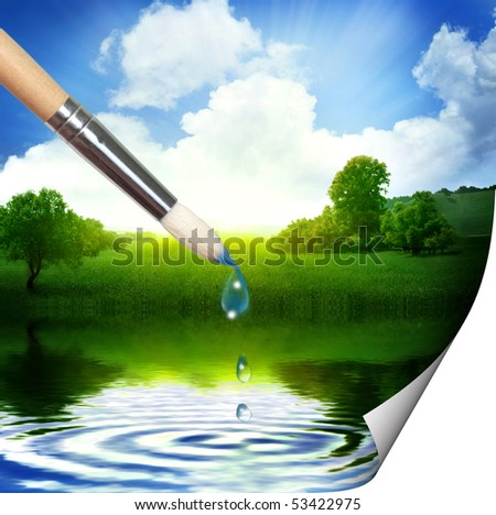 Painting beautiful landscape
