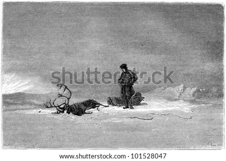 "1866 Painting in a Salon called ""Winter in Lapland"", showing a traveller looking over his dead reindeer, vintage engraved illustration. Magasin Pittoresque - 1867"