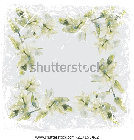 painting lilies in grunge frame #217153462