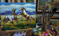 painting   Oil color Two horses