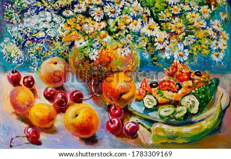 Painting, oil painting.  Still life with flowers of chamomile berries and fruits. Fine art.