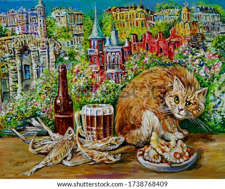 Painting , red cat near the bottle and glasses with beer against the background of fabulous city , Painting with oil paints .