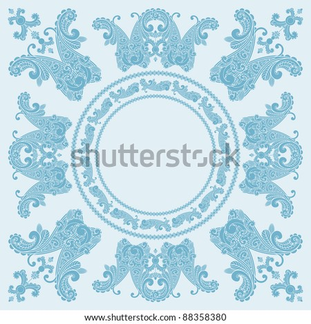 paisley square pattern in blue, place for your text