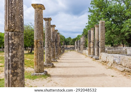 Palaistra (wrestling grounds), ruins of the ancient city of Olympia (Greece)