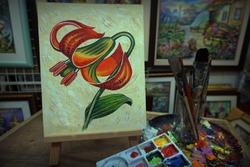 Palette and paintbrush , Hand drawn  Art painting  oil color beautiful   Tiger lily  Flower from Thailand
