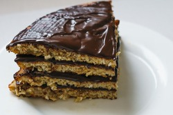 Pancake chocolate cake with nuts. High quality photo