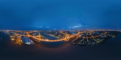 360 panorama by 180 degrees angle seamless panorama of aerial of Bhumibol Bridge and Chao Phraya River in structure of suspension architecture concept, Urban city, Bangkok Downtown at night, Thailand.