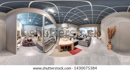 360 panorama of a furniture showroom interior showcasing different living room and dining furnishings for sale on a reflective textured white floor #1430075384