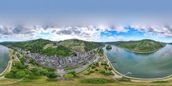 360 panorama of Bacharach am Rhein. Small town on the Upper Middle Rhine River (Mittelrhein). Beautiful aerial panoramic Postcard view with a church. Rhineland-Palatinate (Rheinland-Pfalz), Germany