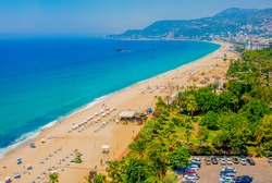 panorama of cleopatra beach in Alanya with blue sea and clean sand
