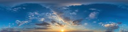 360 panorama of dark blue sunset sky with clouds Seamless hdr spherical equirectangular format with complete zenith for use in 3D, game and for composites in aerial drone 360 degree as sky dome