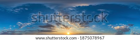 360 panorama of dark blue sunset sky with clouds Seamless hdr spherical equirectangular format with complete zenith for use in 3D, game and for composites in aerial drone 360 degree as sky dome Сток-фото ©