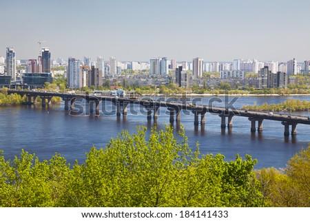 Panorama of Kiev and the bridge through the river Dnepr