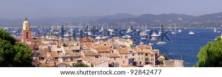 panorama of Saint-Tropez cityscape, French Riviera