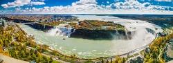 Panoramic view ang coin operated sightseeing Binocular on Niagara Falls. Canada.