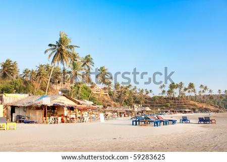 Panoramic view of beautiful tropical Vagator beach, Goa, India
