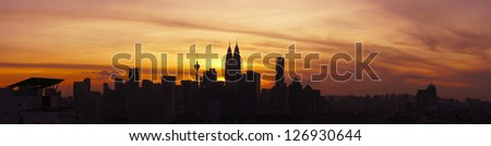 Panoramic View of Kuala Lumpur Cityscape the Federal Capitol and most populous city in Malaysia  during sunset