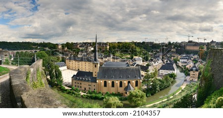 """panoramic view of Luxembourg. it is the """"Abaye Neumünster"""" ( Neum!unster covent ). It is now a cultural center of Luxembourg town. Formerly this covent has been the central prison of Luxembourg."""