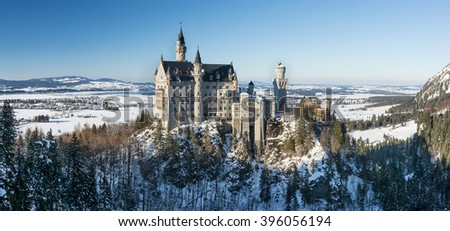 Panoramic view of Neuschwanstein Castle in the winter, Bavaria, Germany stock photo