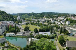 Panoramic view of the city of Lourdes and the sanctuary in the distance