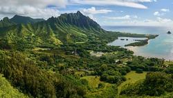 Panoramic View of Waikane on the Windward Side of Honolulu Hawaii