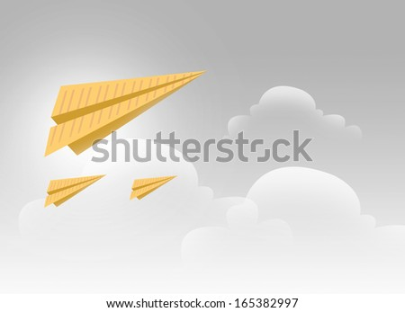 3 Paper Airplanes Flying in a Silver Sky Illustration