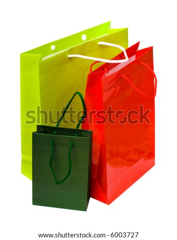 3 paper bags isolated on the white background