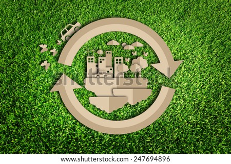 Paper cut of eco on green grass #247694896