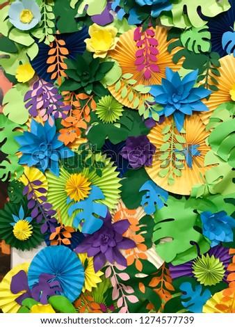paper decor flowers. Tropical Handcrafted Papercraft Nature Petals.Hobby of paper sheet. Children's creativity. Creative creativity.