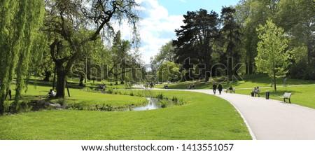 'Parc barbieux', public park in Roubaix (North of France) Photo stock ©