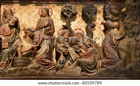 Paris - reliefs from Jesus life - Notre-Dame cathedral - Christ in Gestemany garden - stock photo