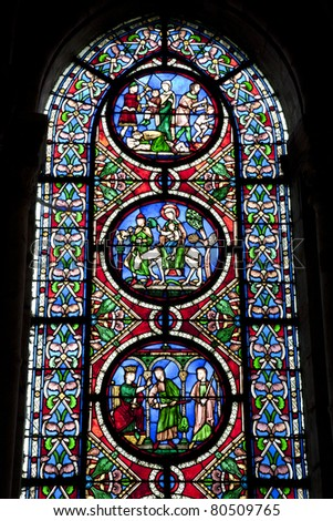 Paris - windowpane from Saint Denis gothic church