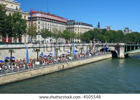 """Parisian beach"" on banks of the River Seine in Paris, France"