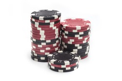 3 part stacks of red casino chips isolated on a white background