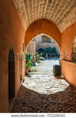 Passageway in the West Gate at the Arkadi Monastery, Arkadi, Crete, Greece #721228165