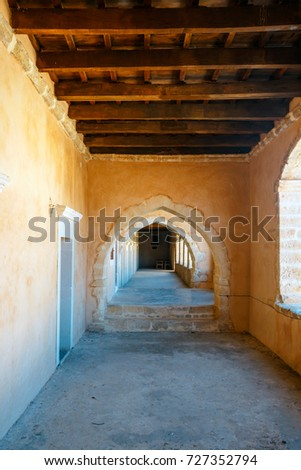 Passageway in the West Gate at the Arkadi Monastery, Arkadi, Crete, Greece #727352794