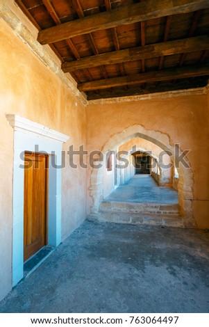 Passageway in the West Gate at the Arkadi Monastery, Arkadi, Crete, Greece #763064497