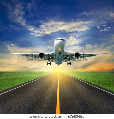 Passenger airplane take off from runways against beautiful  sky, concept aircraft transport and traveling business industry #467683451