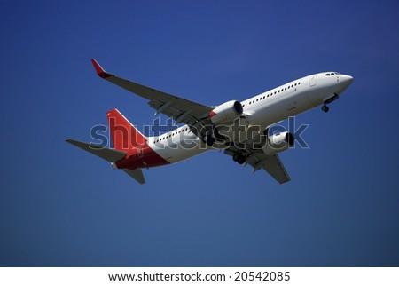 737 passenger jet plane upon take-off