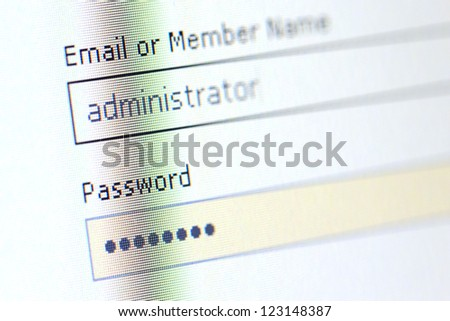 Password filed on a monitor