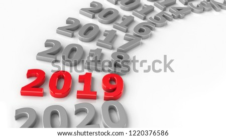 2019 past in the circle represents the new year 2019, three-dimensional rendering, 3D illustration