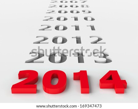 2014 past represents the new year 2014 three-dimensional rendering