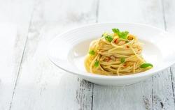 Pasta, spaghetti olive oil and peperoncino