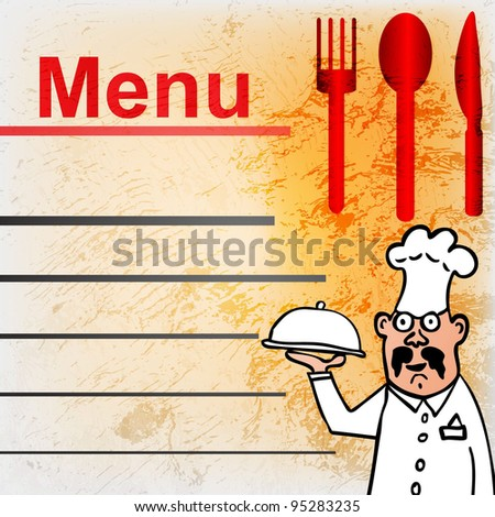 pattern for menu list with italian chef