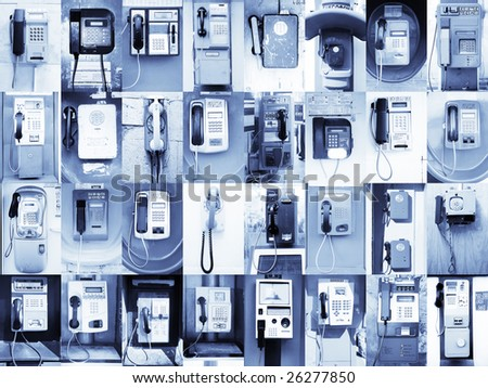32 Payphones without logos. This picture I collected approximately half of year in various cities of Russia, Egypt, Indonesia, Andorra, Spain and Turkey.  (The letter on them are no brands)
