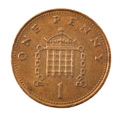 1 pence coin - detailed closeup macro