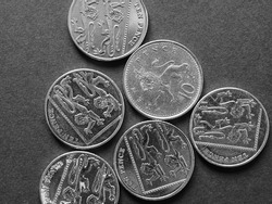 10 pence coin money (GBP), currency of United Kingdom in black and white