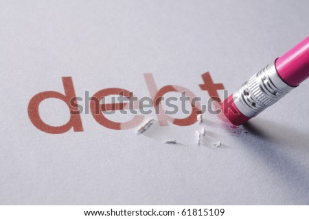 pencil erasing the word-debt