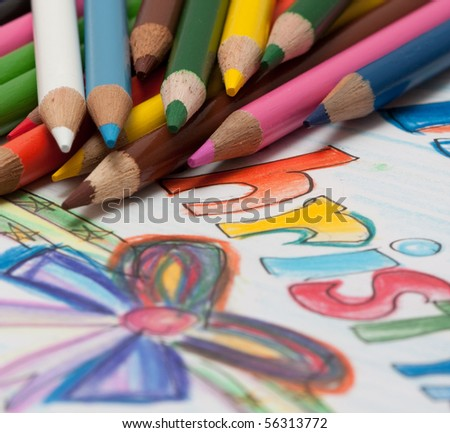 pencils and chrismass cards - stock photo